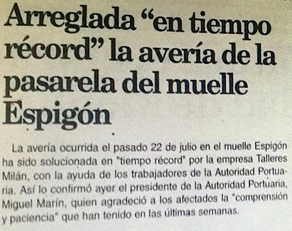 Arreglada en tiempo record pasarela en Melilla